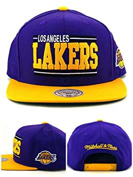 buy popular ab5ae 77d5e Image Unavailable. Image not available for. Colour  Mitchell   Ness Los  Angeles Lakers New Between The Lines Purple Gold Era Snapback Hat Cap
