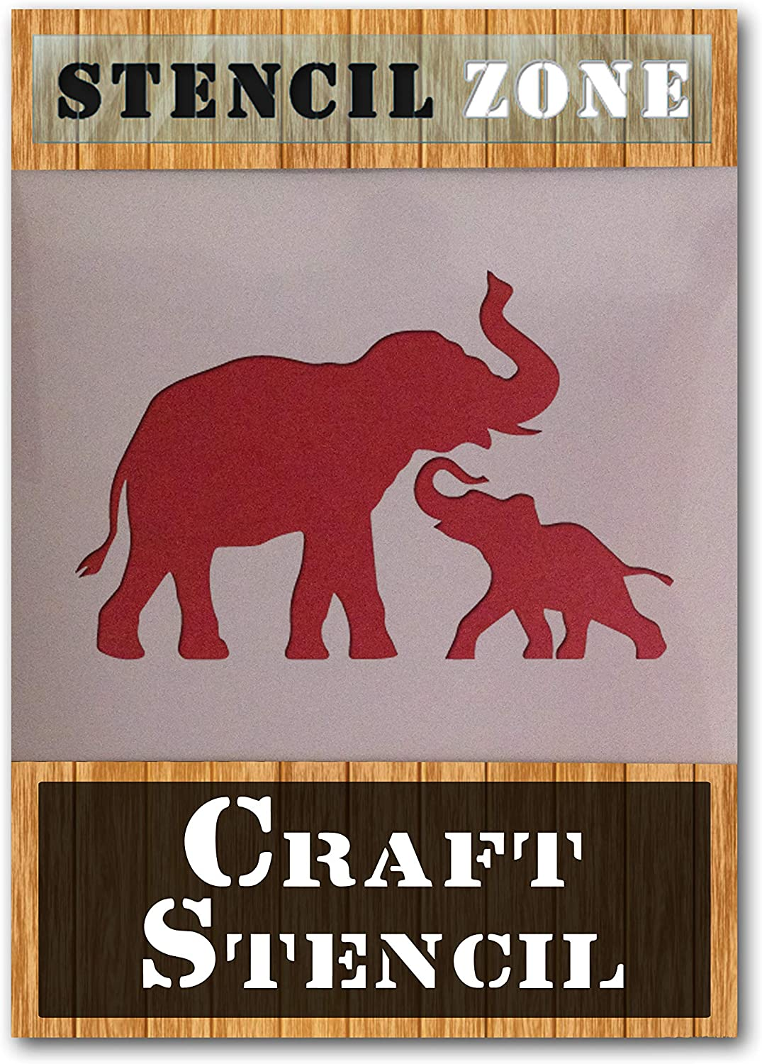 Elephant Family Group Animal Mylar Airbrush Painting Wall Art Crafts Stencil 1