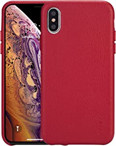 rejazz iPhone Xs max Case Anti-Scratch iPhone Xs max Cover Genuine Leather Apple iPhone Cases for iPhone Xs max (6.5 Inch)(Red)