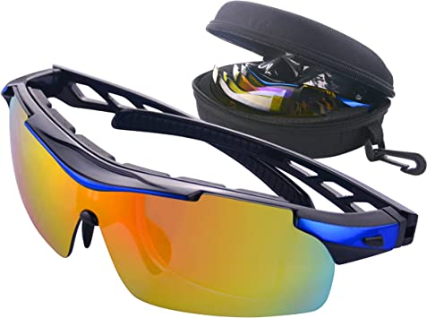 Gafas de Ciclismo Unisex Gafas de Sol de Deportivas Bici Polarizadas 5 Lentes Intercambiables para Hombre y Mujer Deporte Bicicleta Ciclismo Montaña MTB Conducir Pesca Ski Esquiar Golf Correr (Azul): Amazon.es: Deportes