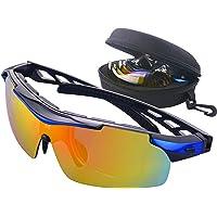 Gafas de Ciclismo Unisex Gafas de Sol de Deportivas Bici Polarizadas 5 Lentes Intercambiables para Hombre y Mujer Deporte Bicicleta Ciclismo Montaña MTB Conducir Pesca Ski Esquiar Golf Correr