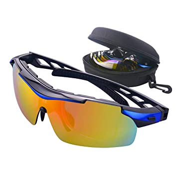 Mate Saga deportes gafas de sol polarizadas Ciclismo gafas con 5 lentes intercambiables, correa de
