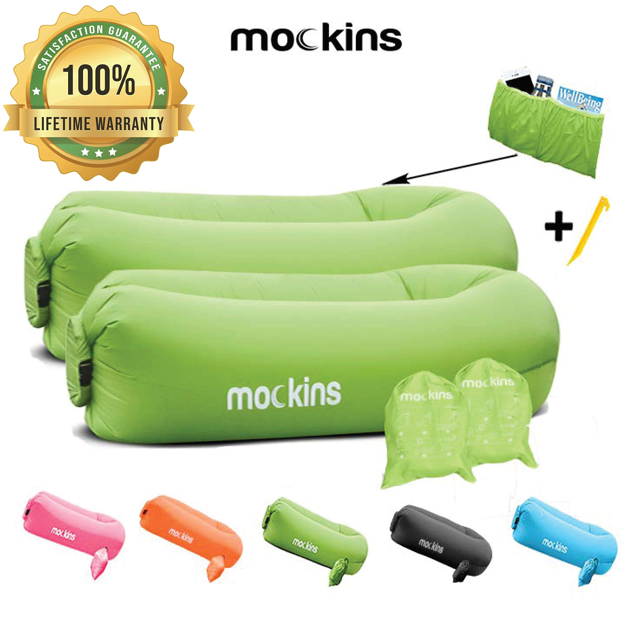 Mockins 2 Pack Inflatable Lounger Air Sofa Perfect for Beach Chair Camping Chairs or Portable Hammock and Includes Travel Bag Pouch and Pockets | Easy to Use Camping Accessories -Green Color by Mockins
