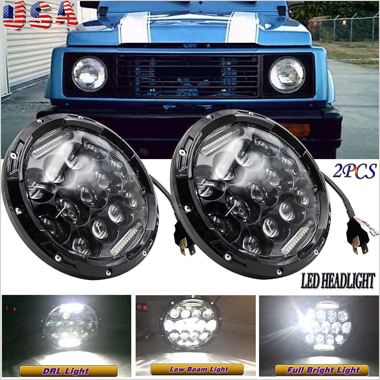 "Fit Suzuki Samurai SJ410 7/"" LED Headlights DRL Halo Hi//Lo Beam Projector A Pair"