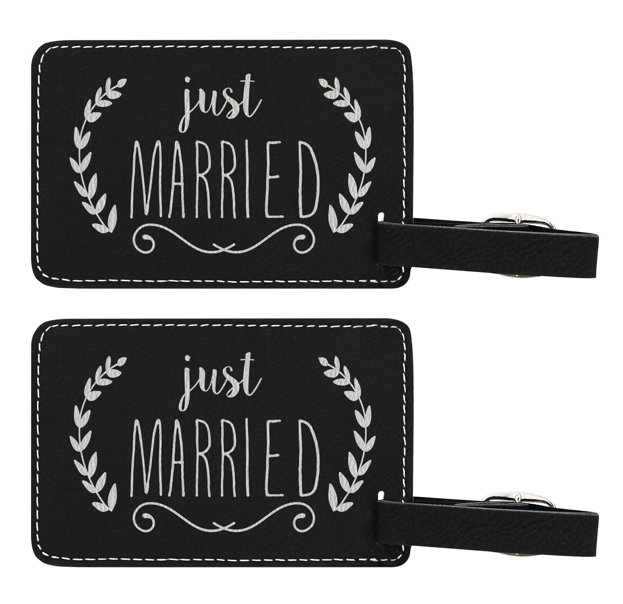 Wedding Gifts Just Married Couples Luggage Tags Couples Gifts for Newlyweds Husband & Wife Gifts 2-pack Laser Engraved Leather Luggage Tags Black