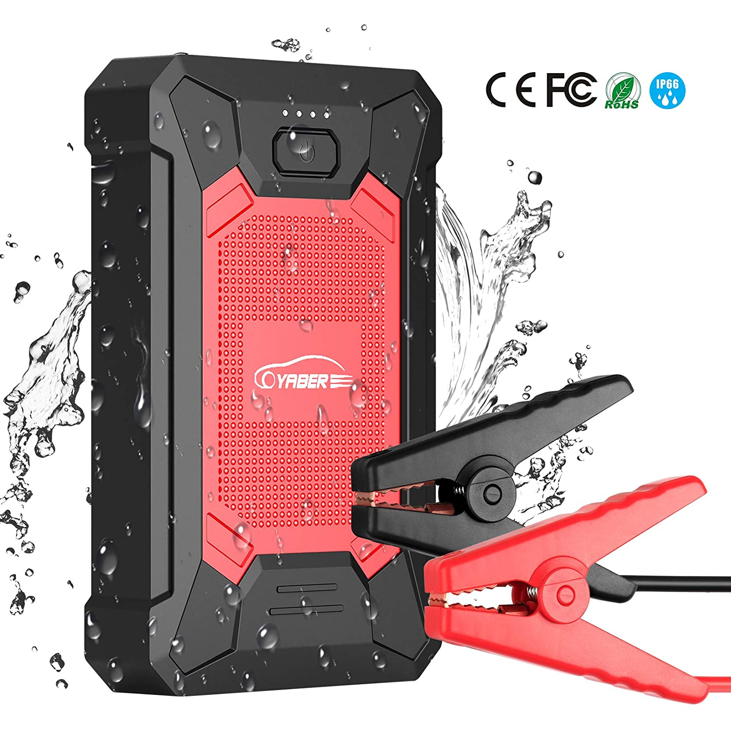1200A Portable Waterproof Car Battery Jump Starter (up to 7.5L Gas, 6.0L Diesel Engine) 12V IP68 15000mAh Auto Battery Booster Power Pack with 3.0 Smart Charging Ports Built-in LED Flashlight YABER