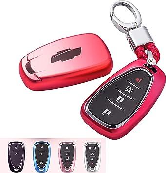 TM TPU Smart Remote Key 2 3 4 5 6 Buttons Case Cover Fob for 2016 2017 2018 2019 2020 Chevrolet Malibu Camaro Cruze Traverse Spark Sonic Volt Bolt ROYALFOX red