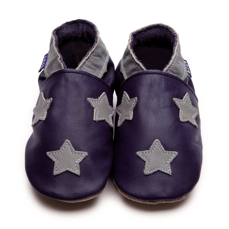Inch Blue Boys Baby Luxury Leather Soft Sole Pram Shoes - Stardom Navy & Grey - Small - Clear Bag