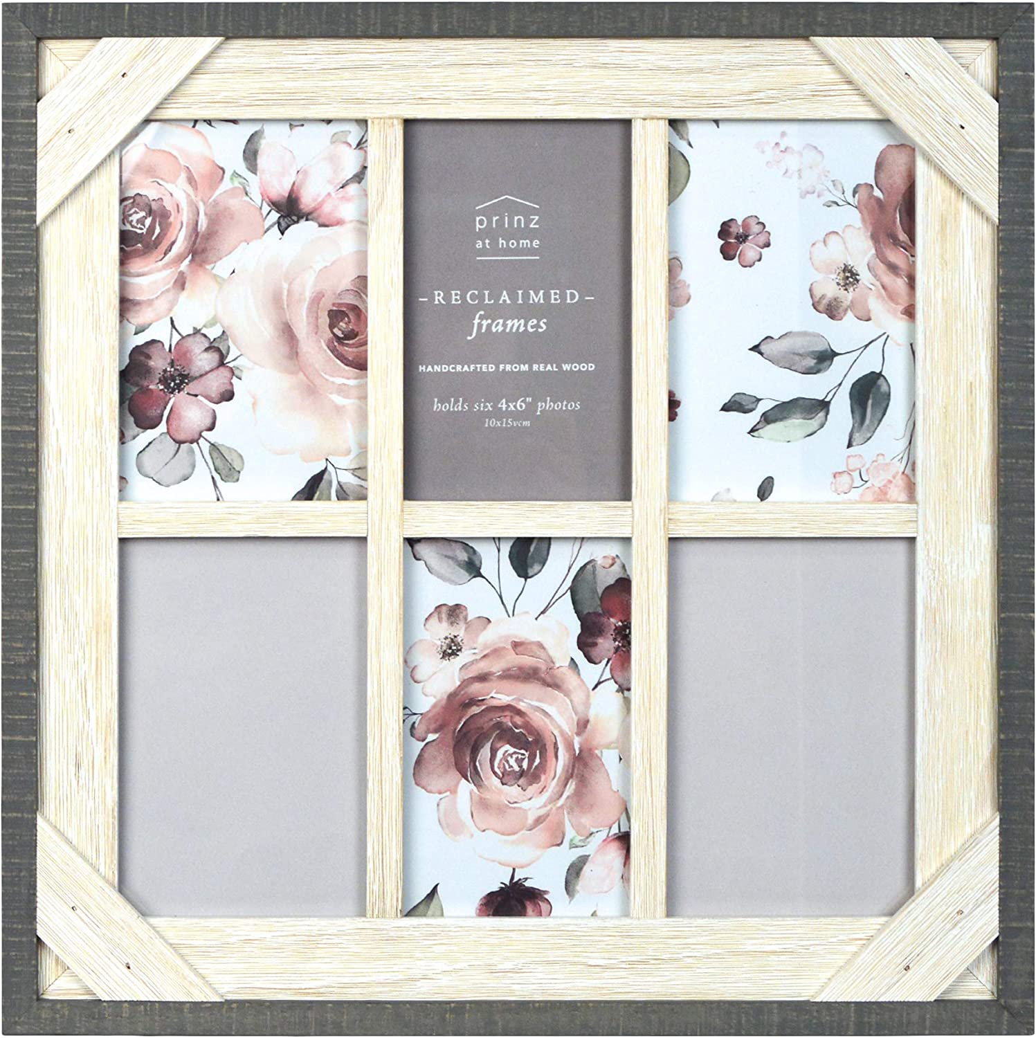 Amazon Com Prinz Reclaimed 14 8 X 14 8 Crosshatch Wood Collage Picture Frame 14 8x14 8 Gray White