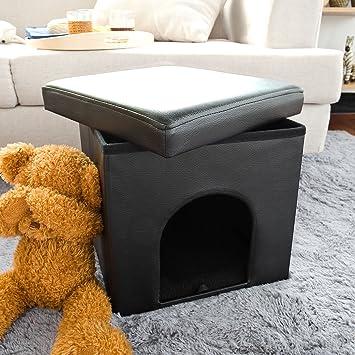 SoBuy Puff, taburete, casa para gatos, casa para perros, choza para perros,FSS24-SCH(negro): Amazon.es: Juguetes y juegos