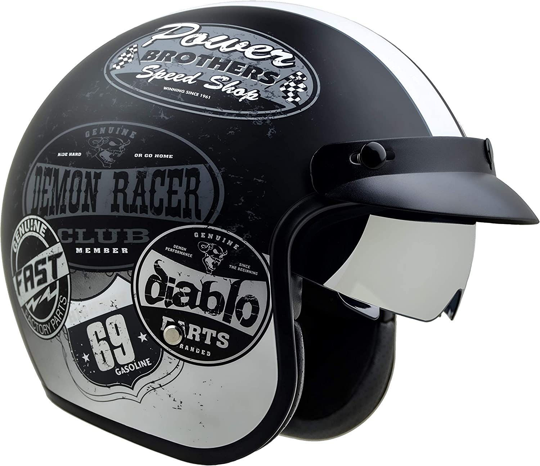 Vega Helmets X390 Retro Open Face Motorcycle Helmet w//Sunshield Unisex-Adult powersports Old Skool Graphic, XX-Large