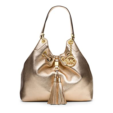 de1ec92c261957 Michael Kors Camden Large Metallic-leather Drawstring Shoulder Bag in Pale  Gold: Handbags: Amazon.com