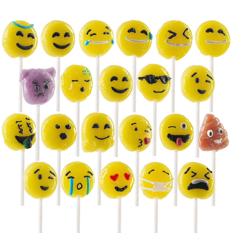 Prextex 24 Pack Emoji Lollipops Yummy Emojiland Suckers Candy on a Stick