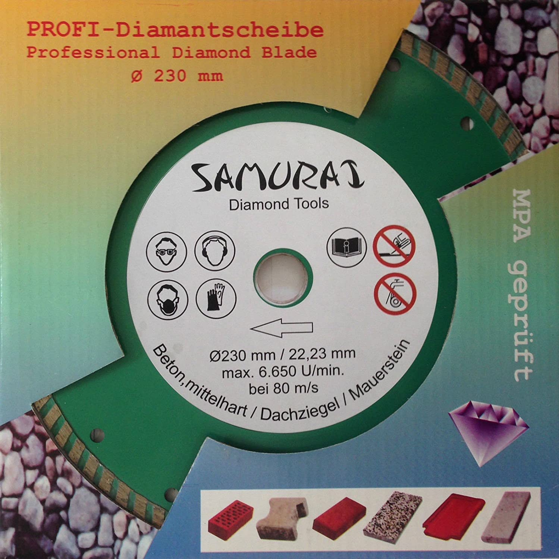 Samurai Profi Disque Diamant /Ø 230 mm Turbo segment/é D/écoupe Granite Marbre