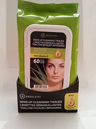 Amazon.com : A! Absolute Make-up Cleansing Tissues Aloe Extract Vitamin E 60 Ct : Beauty