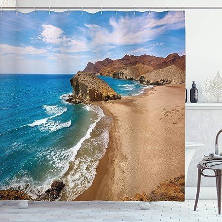 ABAKUHAUS Paisaje Cortina de Baño, Verano Playa España, Material Resistente al Agua Durable Estampa Digital, 175 x 200 cm, Azul Marrón: Amazon.es: Hogar