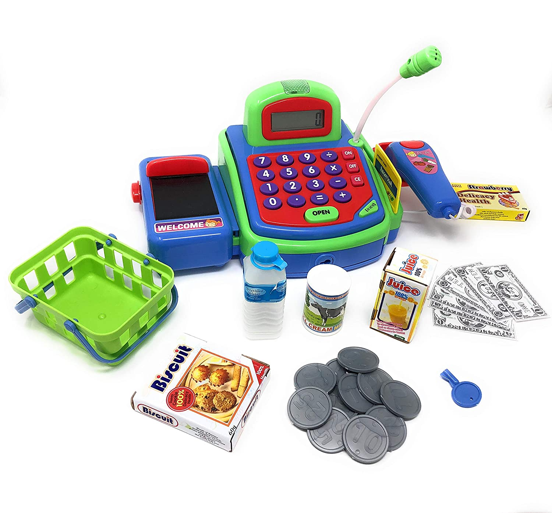 Great Childrens Supermarket Checkout Toy Colorful Childrens Supermarket Checkout Toy with Microphone JoyABit Cashier Toy Cash Register Playset Pretend Play Set for Kids