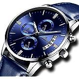 Relojes de Hombre Reloj Militar Deportivo Impermeable Lujo Cronógrafo Fecha Calendario Relojes de Pulsera de Cuero Casuales Analógico Cuarzo