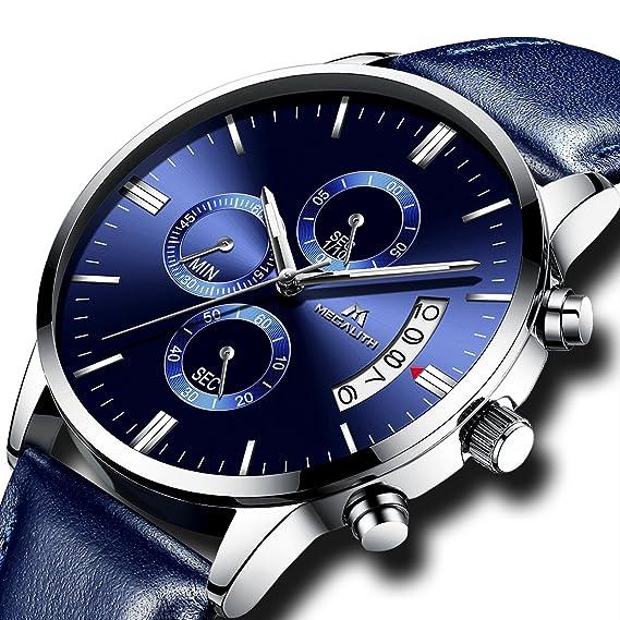 Relojes de Hombre Reloj Deportivo Hombre Militar Impermeable Cronógrafo Calendario Lujo Analógico Relojes de Pulsera de Cuero Azul Moda Casuales: Amazon.es: ...