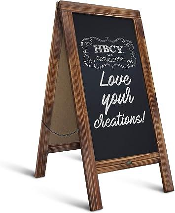 Wooden Chalkboard Blackboard Message Board Sidewalk Easel Display Rustic Style
