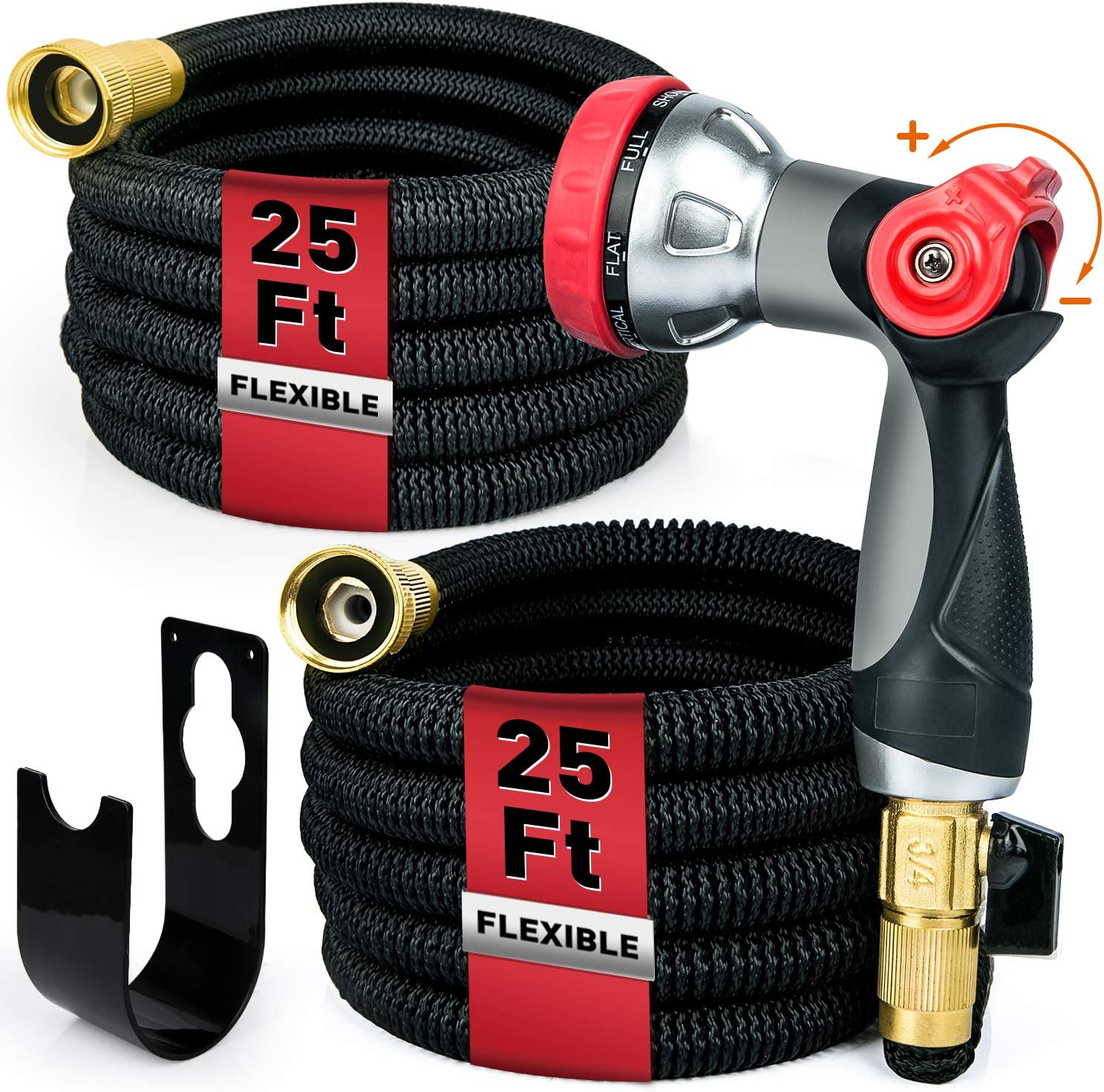 EOX Double 25ft Expandable Garden Hose with 8 Function Nozzle, Leakproof Lightweight Retractable Water Hose with Solid Brass Fittings, Extra Strength Durable Gardening Flexible Hose Pipe