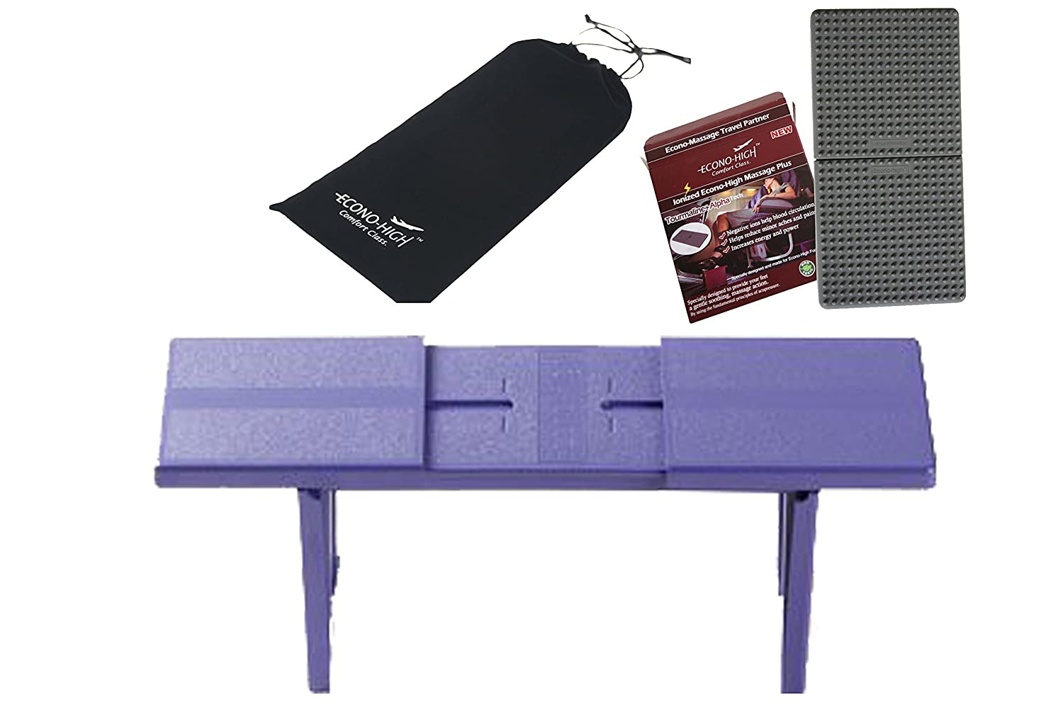 Econo High Purple Folding Travel Footrest with Silicone Massage mat – Bundle Package Offer