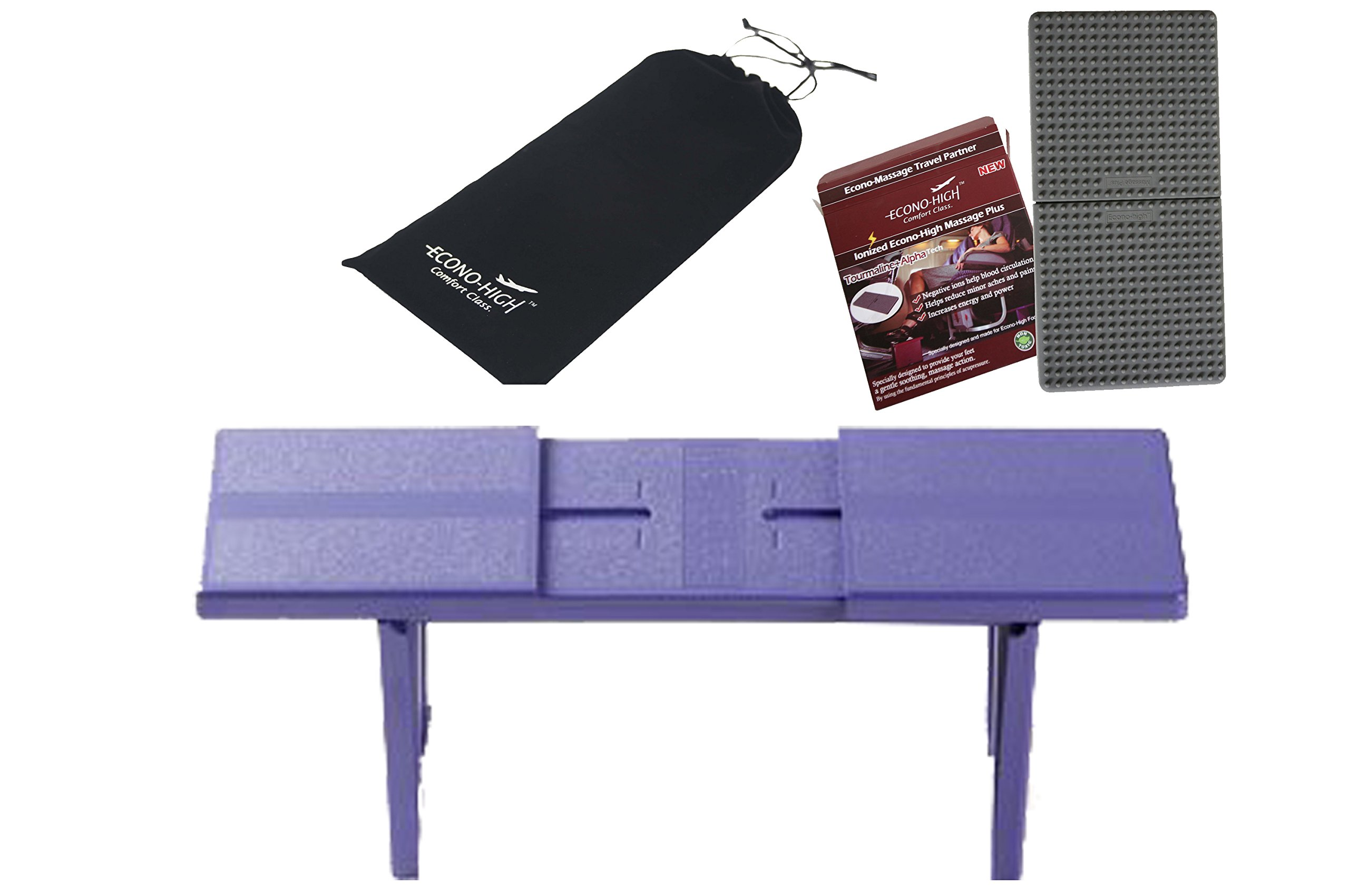 Econo High Purple Folding Travel Footrest with Silicone Massage mat - Bundle Package Offer!