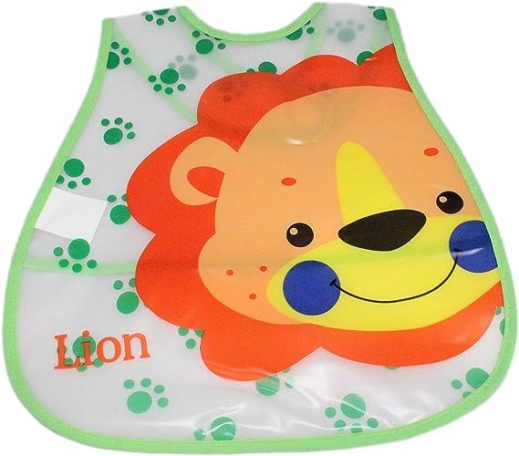 Baby Boy Girl Easy Clean Plastic Waterproof Crumb Catcher Feeding Bib 3//6 Pack