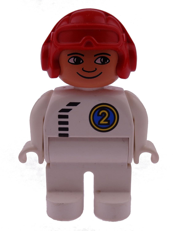 1 x Lego Duplo Figur Mann Hose weiß Overall Oberteil weiß mit Nr. 2 in grün Flieger Mütze Helm rot runde Augen Pilot Rennfahrer 4555pb245