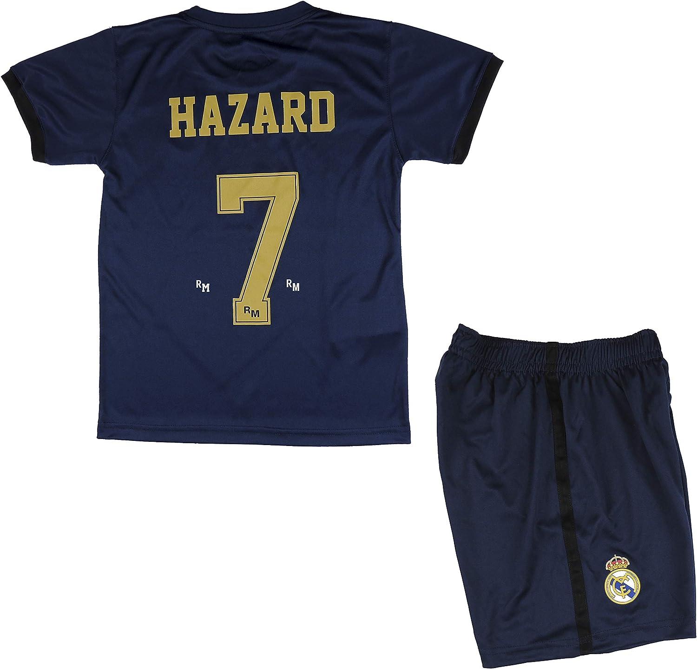 Real Madrid Conjunto Camiseta y Pantalón Segunda Equipación Infantil Hazard Producto Oficial Licenciado Temporada 2019-2020 Color Blanco (Azul Marino, Talla 14)