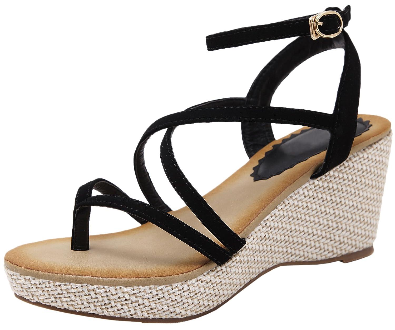 High Heel Sandals Bohemian Platform Wedge Strappy Sandals For Women By BIGTREE B074DPXYJX 5.5 M US|Black