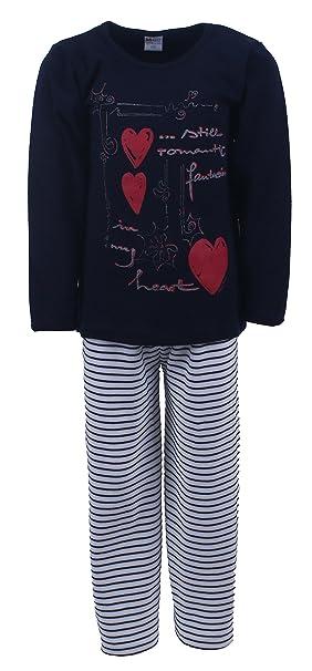 Pijamas largos para chicas 2 piezas Corazon color azul marino tallas 116-176 size 116