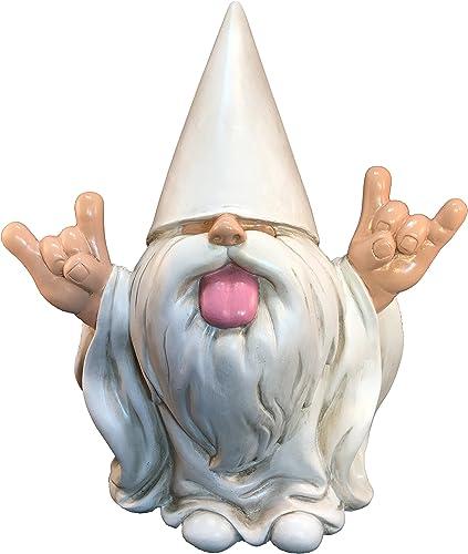 GlitZGlam Rocker Gnome George Peace and Love – This Gnome Brings Peace and Love to All and Your Fairy Garden and Gnome Garden 10 Inches Tall Garden Gnome Figurine