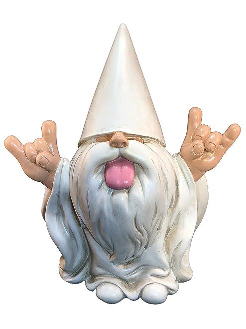 """GlitZGlam Rocker Gnome – """"George"""" – This Gnome Will Rock Your Fairy Garden and Garden Gnomes 10 Inches Tall Garden Gnome Figurine"""
