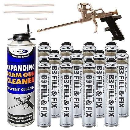 Kit – 12 x 750 ml latas de espuma, 1 x Pistola de profesional,