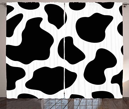 Ambesonne Cow Print Curtains Hide Of A With Black Spots Abstract And Plain Style