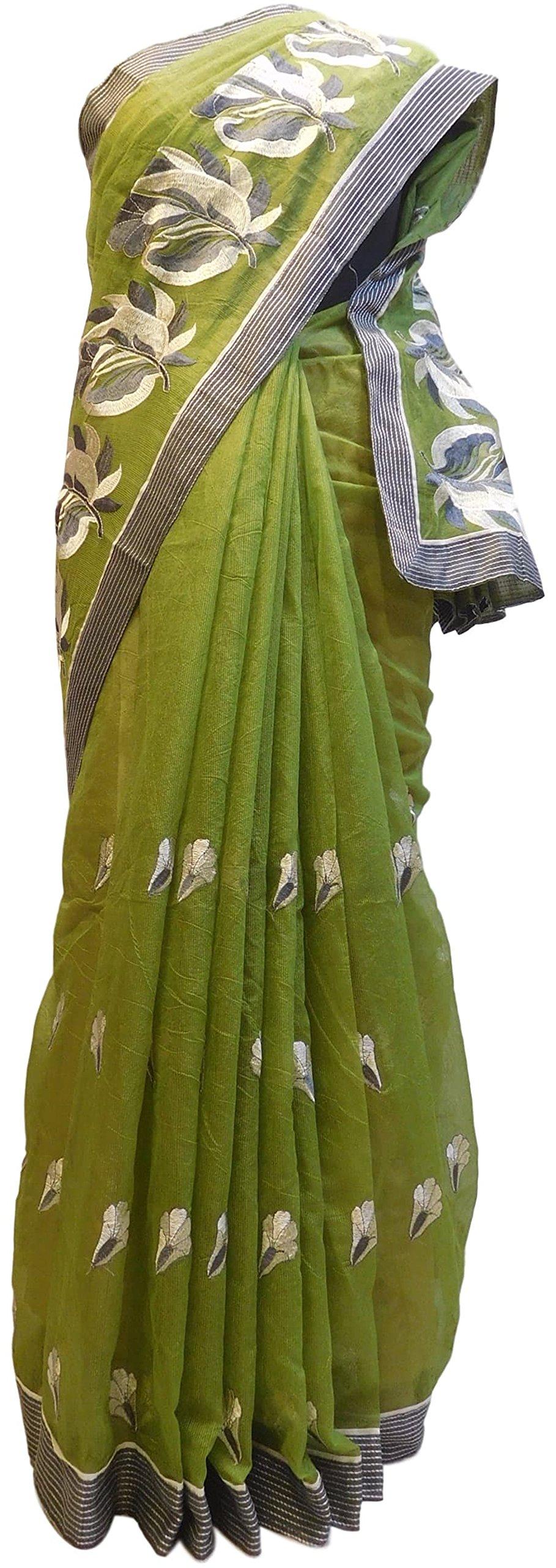 SMSAREE Women's Designer Supernet (Cotton) Hand Embroidery Saree Sari Free Size Mehendi Green