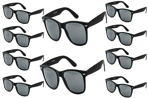 10 er Set EL-Sunprotect® Sonnenbrille Nerdbrille Brille Nerd Matt Gummiert Schwarz
