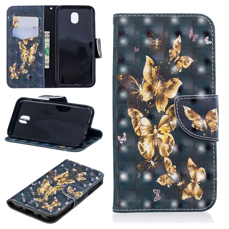 Yobby FlipCase Brieftasche Hü lle fü r Samsung Galaxy J5 2017/J530, Slim PU Leder Handyhü lle 3D Bunt Muster Kartenfach Magnetverschluss Stand Stoß fest Schutzhü lle-Katze