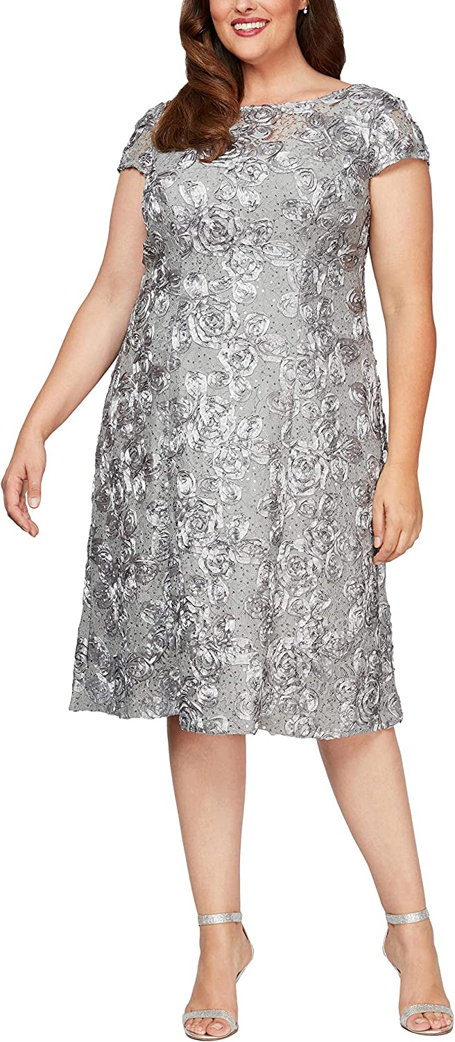 Alex Evenings Women's Plus Size Tea Length Dress with Rosette Detail