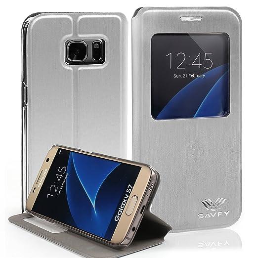 3 opinioni per SAVFY® Flip Cover custodia in Poliuretano e PU con Finestre per Samsung Galaxy