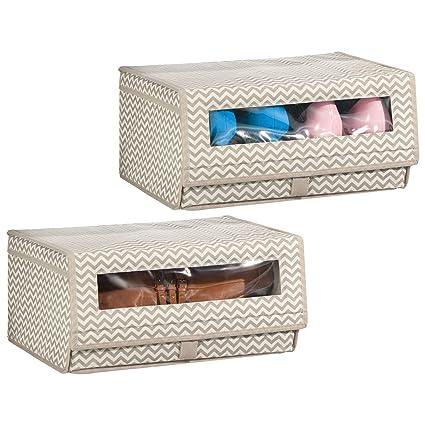 mDesign Juego de 2 cajas para zapatos de fibra sintética (grande) – Cajas apilables