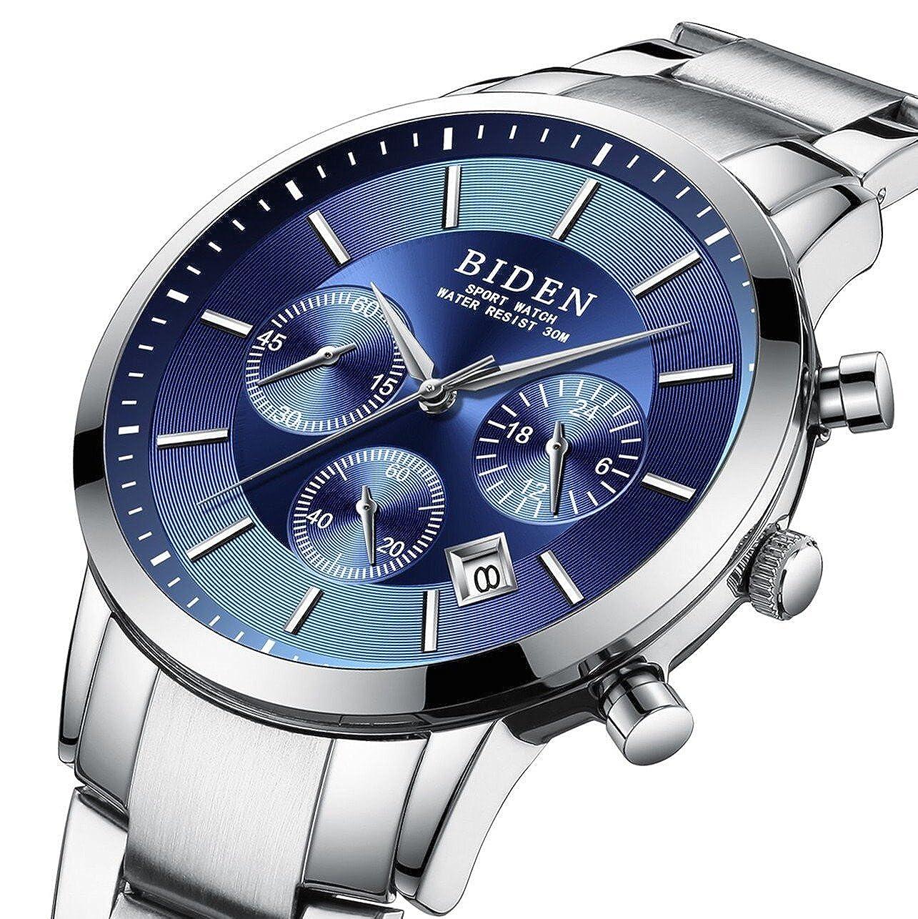 Relojes, hombre, Luxus administrarlos Acero Inoxidable Azul Calidad Modo aleatorio de agua Densidad cuarzo uhrmade en China: Amazon.es: Relojes