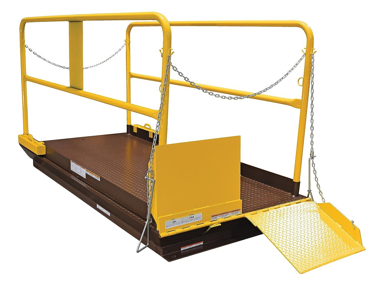 Brown//Yellow Capacity 4 x 8 Vestil WL-100-5-48 Premium Truck Scissor Dock Lift 5000 lb
