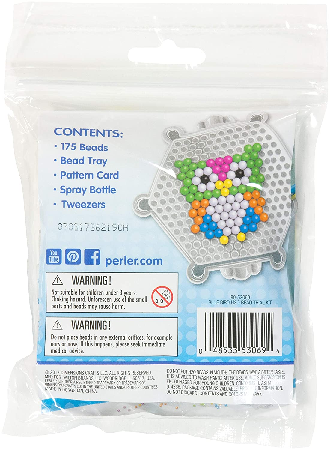 Perler Beads Bluebird and Owl Water Kit 5L X 6.75 H