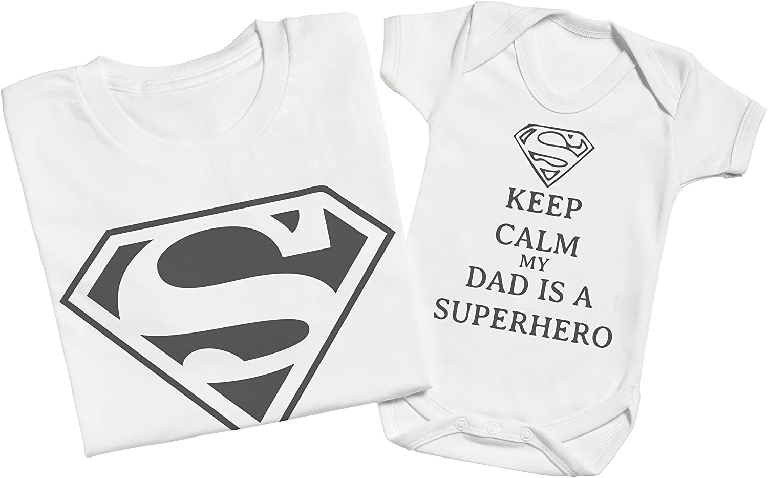 Keep Calm Dad is A Super Hero Matching Father Baby Gift Set Mens T Shirt /& Baby Bodysuit