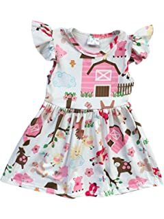 85325932b Amazon.com  Baby Girl Summer Animal Outfits - Cute Red Stripe Farm ...