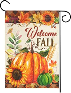 Welcome Fall Garden Flag, Double Sided Autumn Pumpkins House Fall Flag Sunflowers Banners with Fall Leaves for Outside Farmhouse Garden Yard Pumpkin Decor Thanksgiving Decorations (12.5