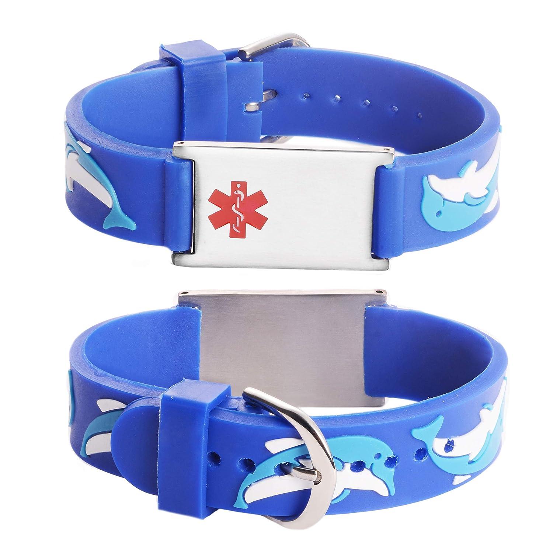 LinnaLove - Bracelet d'identification médicale à motifs dessins animés pour garçon et fille, gravé gratuitement pour les enfants