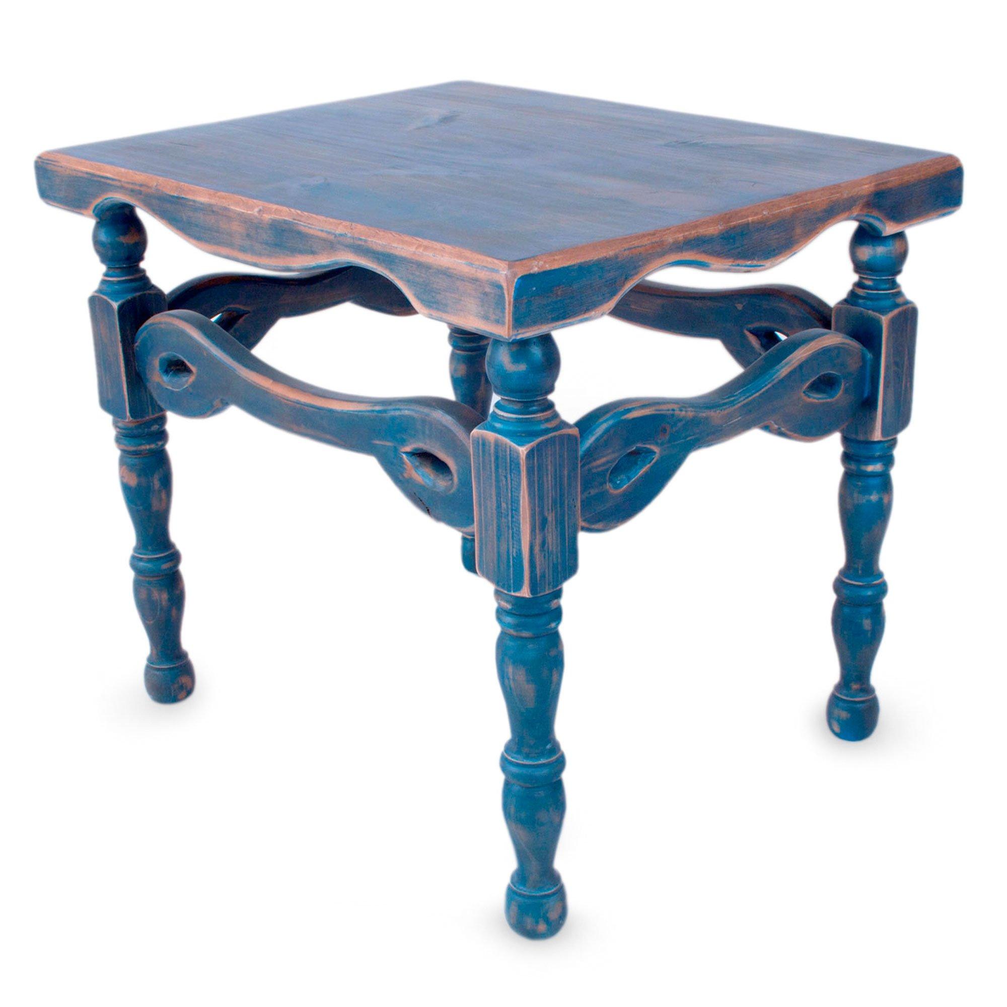 NOVICA Pinewood Rustic End Tables, 23.5'' Tall, Blue, 'Hidalgo Royal Blue' by NOVICA (Image #1)